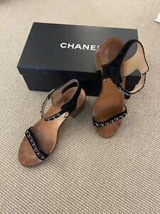 CHANEL Black Suede Leasther Silver Chain Strap  Sandals  size 39
