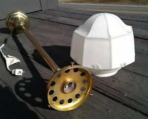 Vintage Frosted Shade Pendant Ceiling Light w/ Brass Electric Shaft