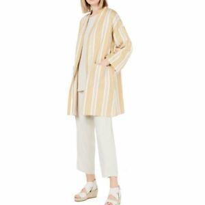 Eileen Fisher Womens Petites Kimono Printed Split Hem Jacket B//W PS Black