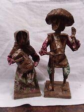 Vintage Set Of Handmade Mexican Paper Mache' Man & Woman Dolls/Figurines
