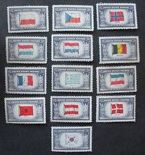 US Postage Stamps Mint NH Scott 909-921 WWII OVERRUN COUNTRIES Set World War II