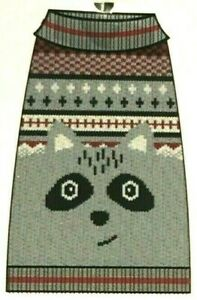 Dog Knit Nordic Sweater Raccoon Face Grey Red Black White Pet Size M - L NEW