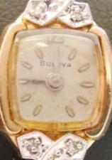 Woman's Vintage Watch Bulova 10K RGP 4 Diamonds Band 10K RGP Top Wind Up Swiss