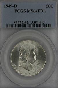 1949-D  .50  PCGS  MS64 FBL   Franklin Half Dollar, Benjamin Half, Bell Half