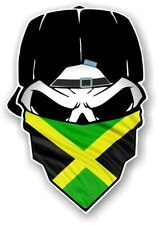 Gothic Biker Skull With Bandana Jamaica Jamaican flag Vinyl car sticker 125x85mm
