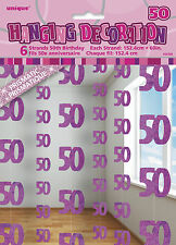 **50TH BIRTHDAY CELEBRATIONS**  Pack of 6 - 50th Hanging String Decorations!