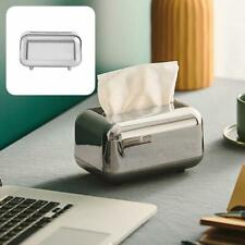 Space-saving Tissue Boxes Paper Storage Box with Magnetic Switch Silver