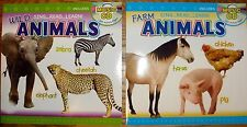Lot of 2 Childrens Music CD & Book WILD & FARM ANIMALS Activity pages 12 songs