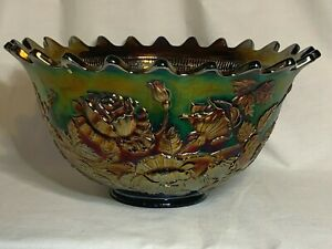 Fenton Carnival Glass Wreath of Roses Persian Medallion interior blue punch bowl