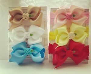Baby Headbands 6 Bows Set 3 inch Bow Soft Stocking Embroidery Flower nylon Band