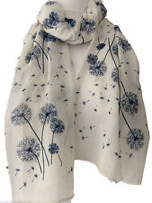 Cream Floral Scarf Ivory Navy Blue Flowers Wrap Ladies Dandelion Flower Shawl
