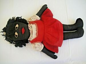 Wonderful Antique American Folk Art Black Doll Of Girl w/ Handmade Clothing
