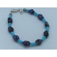 .925 Sterling Silver Natural Blue Turquoise Purple Amethyst Bracelet