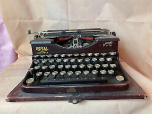 1920s 1930s Model P Royal Portable Typewriter w/ Case Burgundy P96441