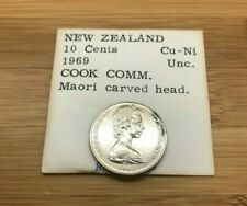 1969 10 CENTS NEW ZEALAND COOK COMM MAORI CARVED HEAD