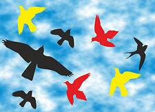 8 Stück Vögel Aufkleber farbig - Vogelschutz - Warnvögel - Wintergarten -Nr.501F