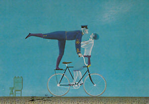 Postkarte: Jan Balet - 16 - Auf dem Fahrrad