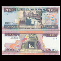 Philippines 2000 Piso Banknote, 2001/2012, P-NEW, UNC, Asia Paper Money