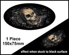 OVALE FADE TO BLACK Il Male Gotico Teschio Bandiera Interno Auto Adesivo Vinile Decalcomania 150mm