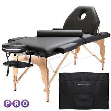 Open Box - Portable Black Massage Table with Bolster and Tilt Backrest