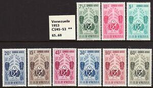 "1951 Venezuela ""Arms of Yaracuy & Tropical Foliage"" A/M set MOG Sc# C545 / C553"