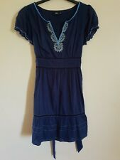 Oasis Blue Short Sleeves Summer Dress 100% Cotton Fit and Flair Tie Back Boho 12
