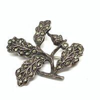 Antique art deco sterling silver marcasite acorn brooch EBY264