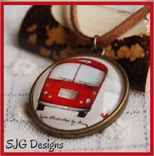 Retro Red Bus on Bronze pendant With Faux Leather Cord & Lobster Clasp necklace