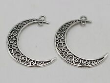 25 Tibet Silver Tone Filigree Flower Moon Crescent Pendants Charms 40X30mm Craft