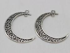25 Tibet Silver Tone Filigree Flower Moon Crescent Pendants Charms 40X30mm Craft
