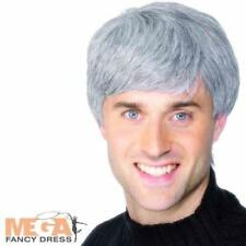 Grey Short Mens Wig Modern Father Ted Fancy Dress Costume Accessory Wig