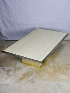 1970's French travertine coffee table