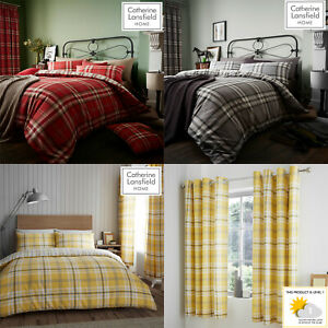 Catherine Lansfield KELSO Tartan Check Duvet/Quilt Cover Set Bedding Curtains