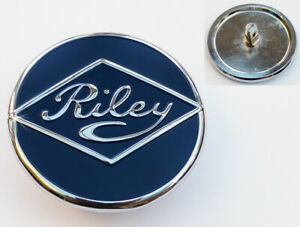 Riley Chrome Blue Enamel Wheel Centre Hubcap Badge, 4/68 4/72 Kestrel Pathfinder