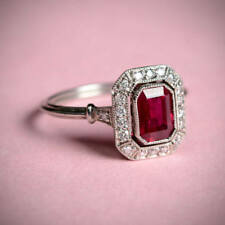 Art Deco Red Emerald Cut Certified 1.75 Ct Engagement Wedding Ring In 14K W Gold