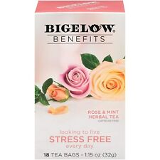 TEA STRESS FREE ROSE & MINT Herbal TEA Bigelow Benefits (18 bags x 1 box) NEW