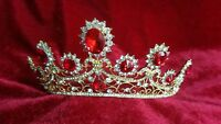 Tiara red prom bridal wedding prom bridal occasions crown prop queen party UK