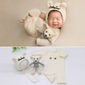 Newborn Photography Props Baby Knitwear Jumpsuit Clothes Backdrop Hat Mouse Doll