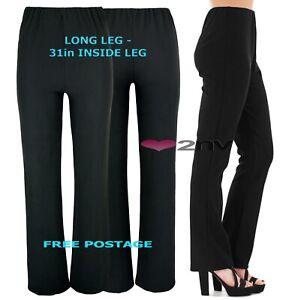 Womens Long Leg 31inch BLACK Nurse Work Carer Stretch Elasticated Trousers Pants