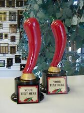 CHILI COOK-OFF SCULPTURE TROPHIES SET OF 1ST AND 2ND FUN NEW DESIGN FREE ENG.