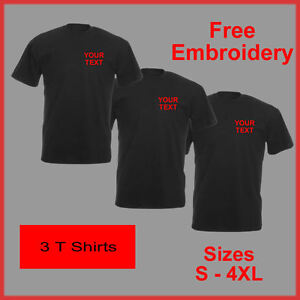 PERSONALISED EMBROIDERED TEXT BUSINESS WORK WEAR PACKAGE T SHIRTS COMPANY