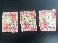 Lot de 3 anciens point Timbre Tintin emballage orange
