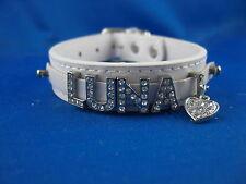 Cuero De Perro Cuello Cinta con diamantes de imitación Namen para Favorito