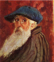 Oil painting Artist self portrait of Camille Pissarro with black hat big Beard