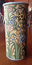Vintage Vase Majolica Clay Background signed Aquado Toledo Spain