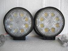 2 X PIECES LED WORK LIGHT ROUND BRIGHT 24 WATT 12 VOLT INC MOUNTING BRACKET