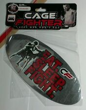 MMA AUTHENTIC CAGE FIGHTER EAT SLEEP FIGHT MIRRORED SILVER CAR MAGNET