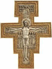 Italian San Damiano Byzantine Christ on Cross Salvation Wall Sculpture