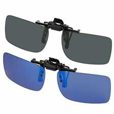 Clip On Sunglasses Lens Flip Up Polarised Sun Glasses Eyewear Flexible Pack Of 2