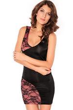 Fashion Black and Pink Lace Splice Bodycon Mini Dress